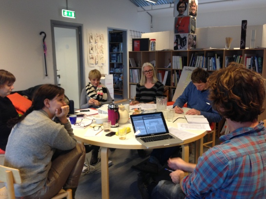 CoDesign weekly meeting - clockwise from left: Paya Hauch Fenger, Tuuli Makkelmäti, Mette Agger Eriksen, Eva Brandt, Kelton Minor & Joachim Halse