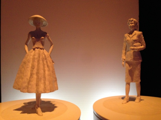 Touch models illustrating fashion silhouettes of the 1940's at Nordiska Museet