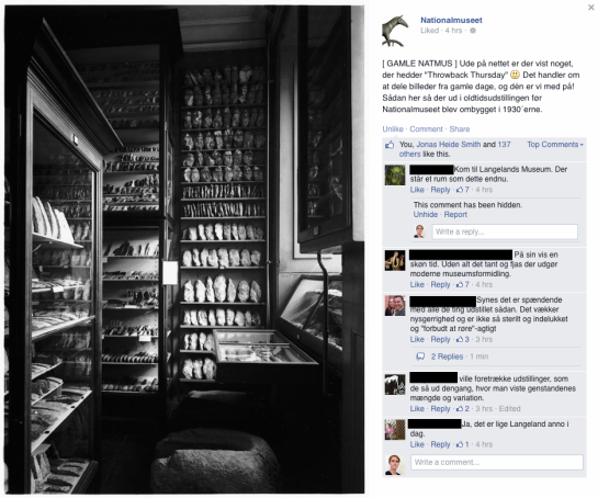 Screenshot from Facebook, post on National Museum of Denmark's profile page